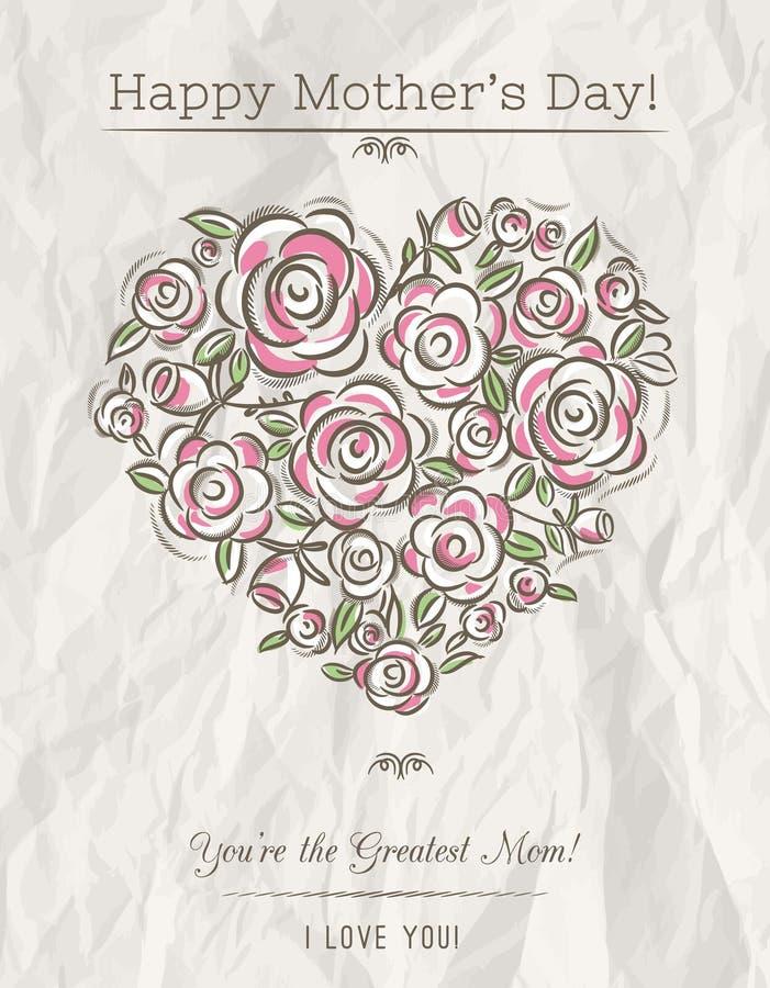 与春天的心脏的白色卡片在母亲节, vecto开花 皇族释放例证