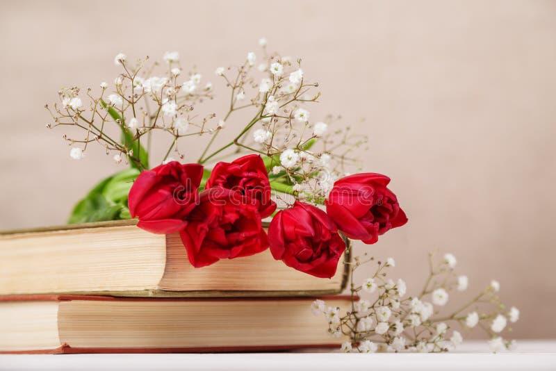 与春天红色郁金香的葡萄酒静物画和在米黄背景的书 母亲节,妇女的天概念 库存图片