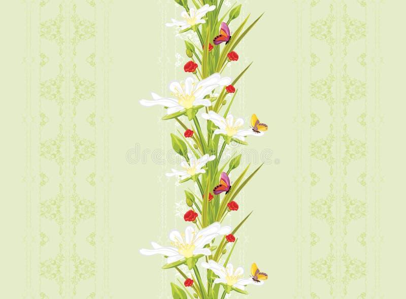 与春天花和蝴蝶的装饰无缝的背景 向量例证