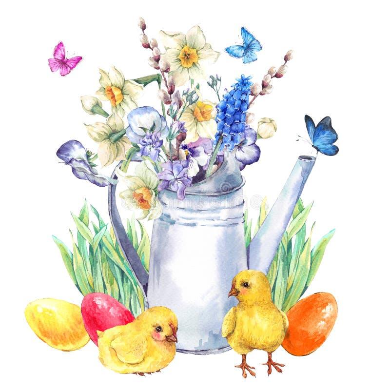 与春天花束的葡萄酒愉快的复活节贺卡 皇族释放例证