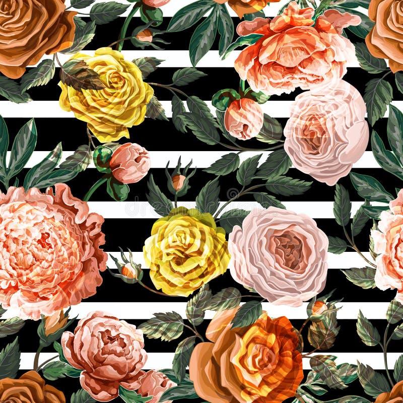 与春天花玫瑰和牡丹的无缝的样式 ?? 库存例证