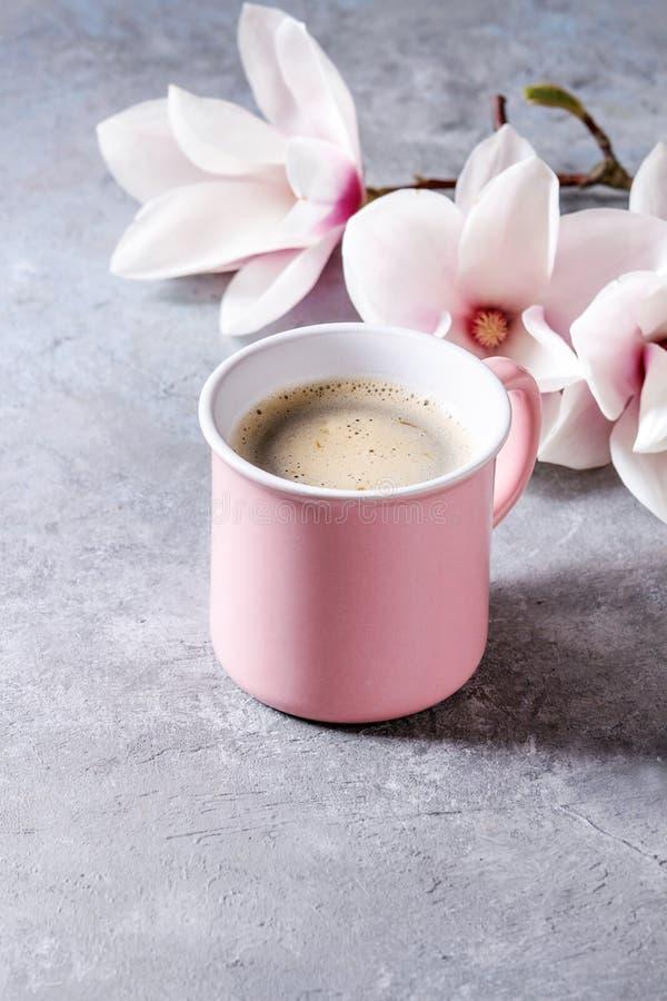 与春天花的咖啡 库存图片