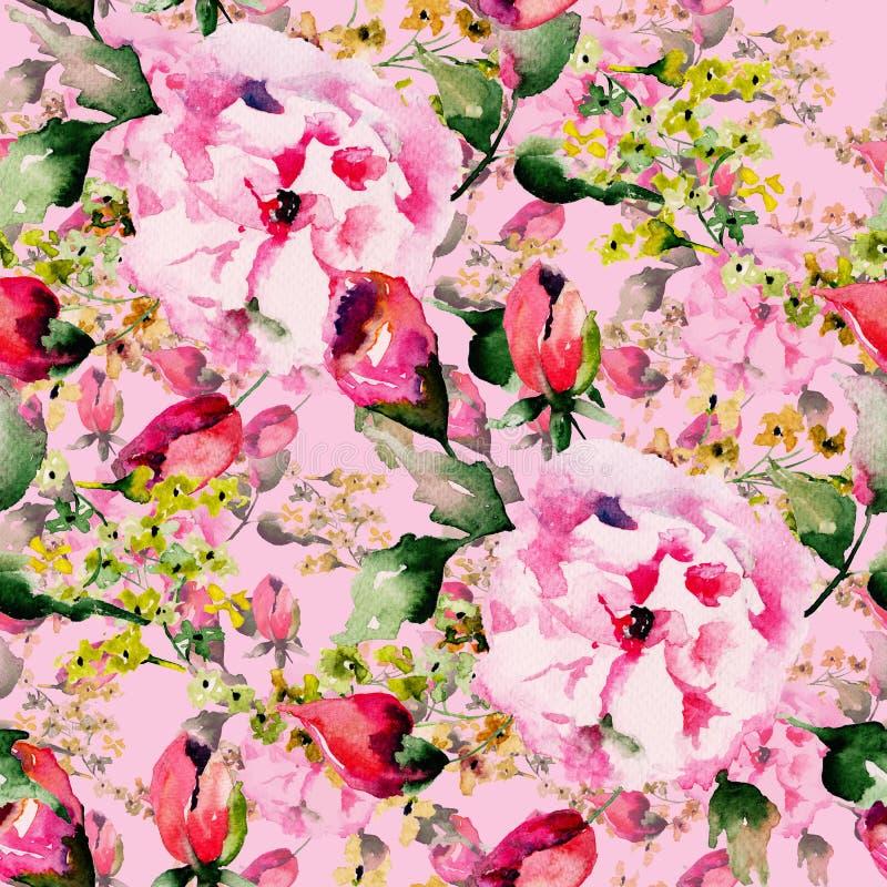 与春天花的无缝的墙纸 库存例证