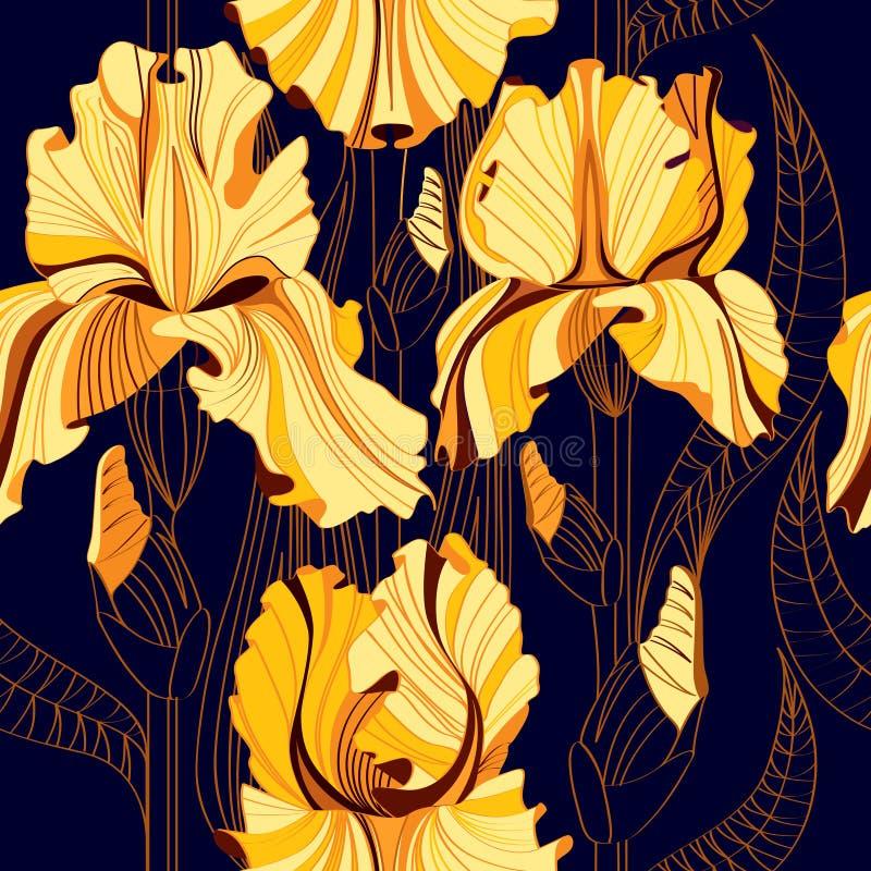 与春天花的无缝的花卉样式 与黄色虹膜的传染媒介背景 向量例证