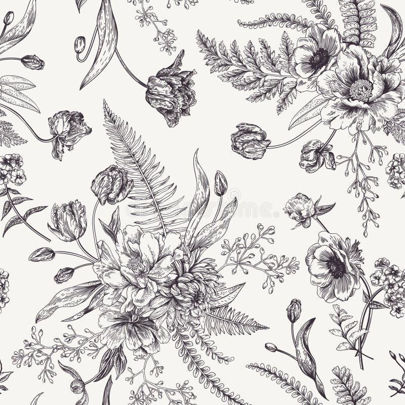 与春天花的无缝的花卉样式 皇族释放例证