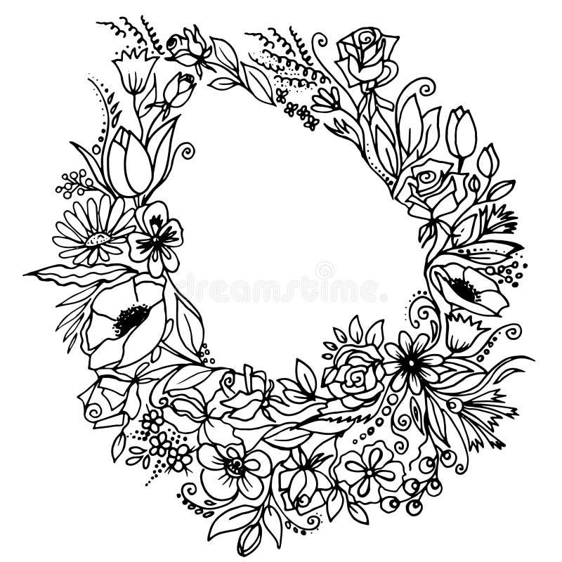 与春天花的花卉花圈 E 向量例证