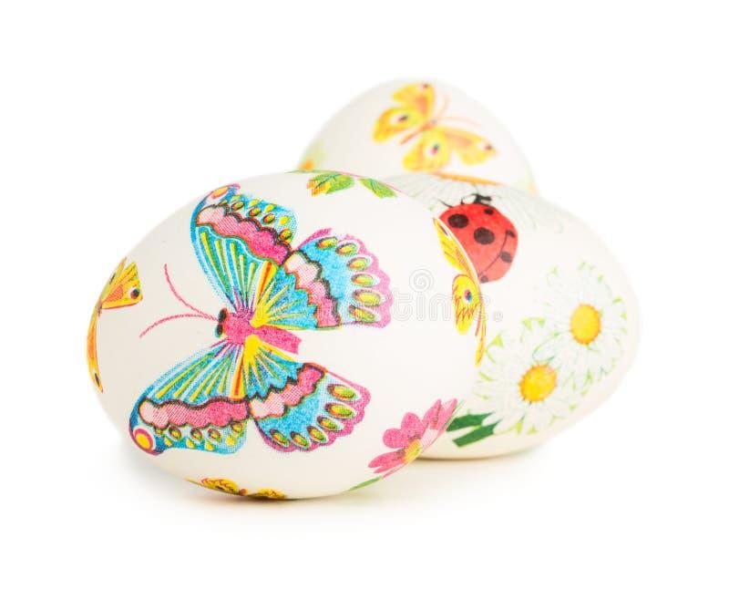 与春天装饰的复活节彩蛋 库存照片
