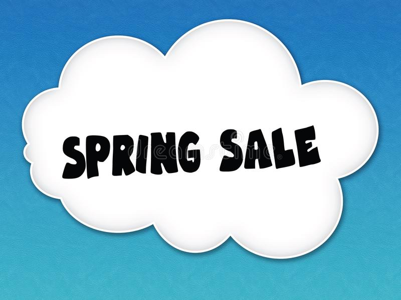 与春天销售消息的白色云彩在蓝天背景 皇族释放例证