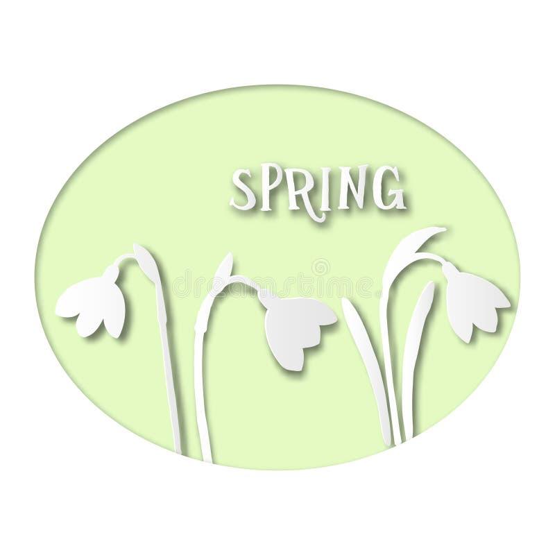 与春天Snowdrops的纸牌 库存例证
