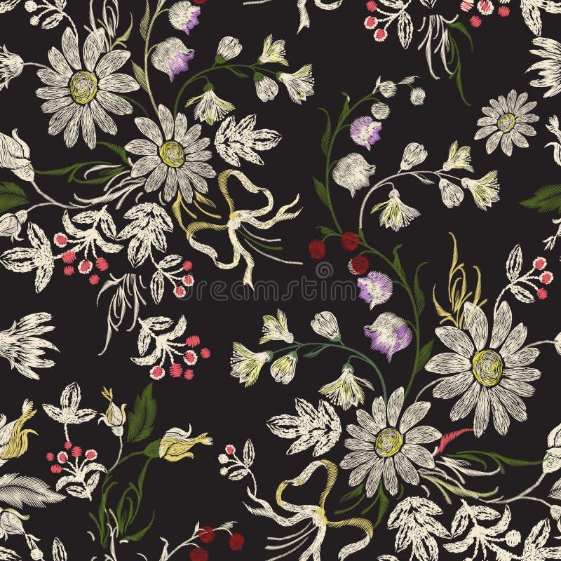 与春黄菊和弓的刺绣花卉无缝的样式 库存例证