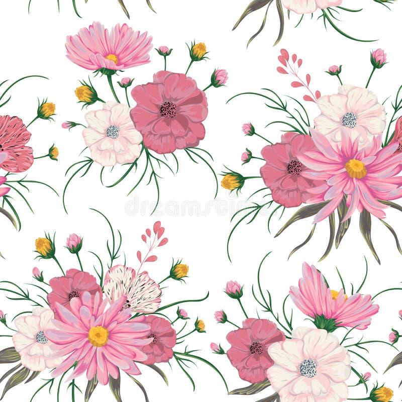与春黄菊和鸦片花的无缝的样式 婚姻的邀请和生日贺卡的土气花卉设计 葡萄酒传染媒介 皇族释放例证