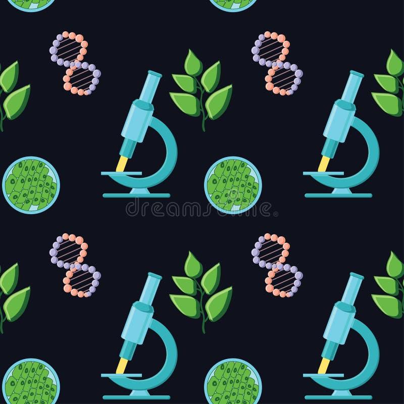 与显微镜,脱氧核糖核酸分子,植物和叶子结构的生物主题的无缝的样式图片
