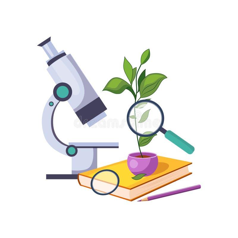 与显微镜和植物的植物学成套工具罐的,套学校和在五颜六色的动画片样式的教育相关对象 向量例证