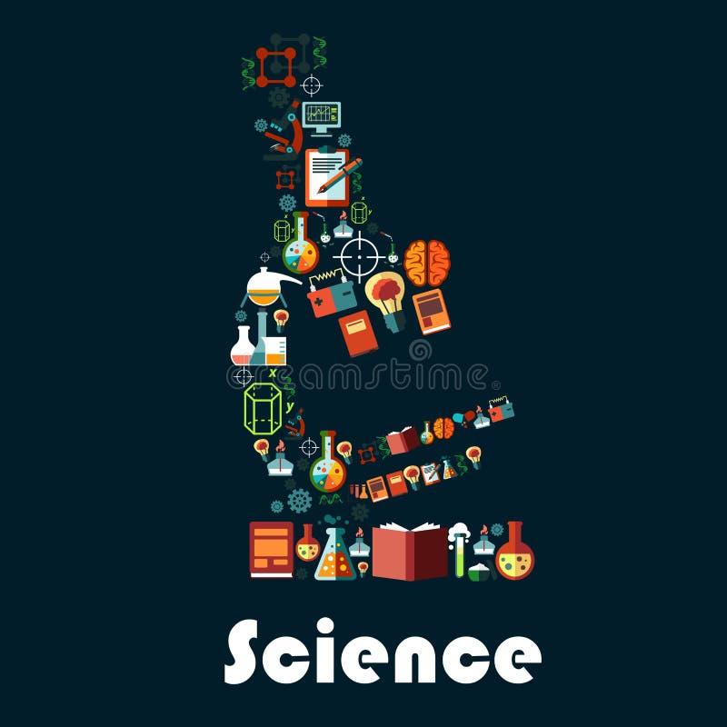 与显微镜标志的科学海报 皇族释放例证
