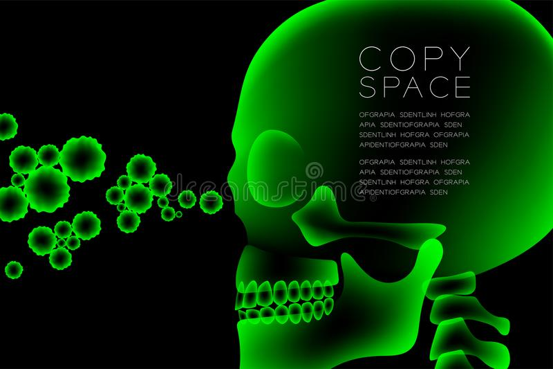 与显微镜疾病细胞构思设计,侧视图例证的头骨X-射线 向量例证