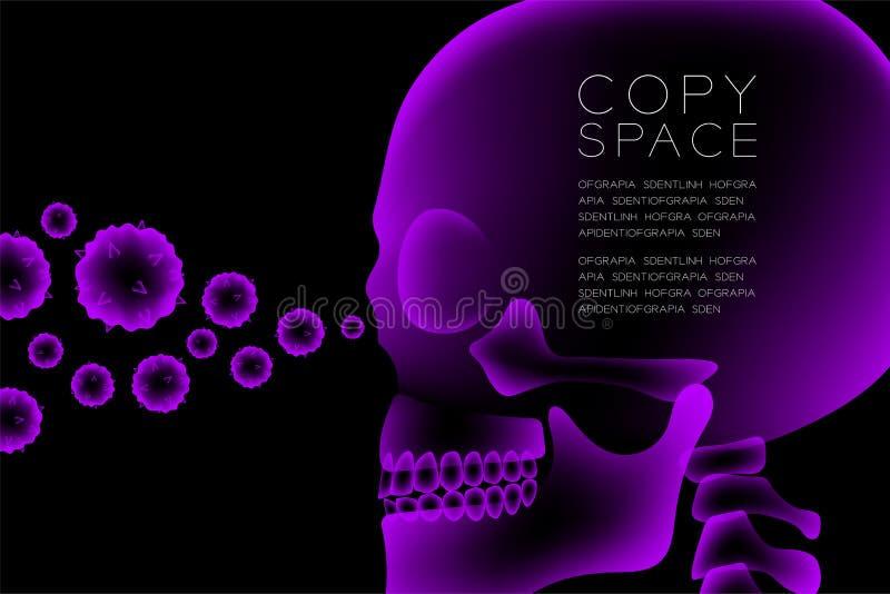 与显微镜疾病细胞构思设计,侧视图例证的头骨X-射线 皇族释放例证