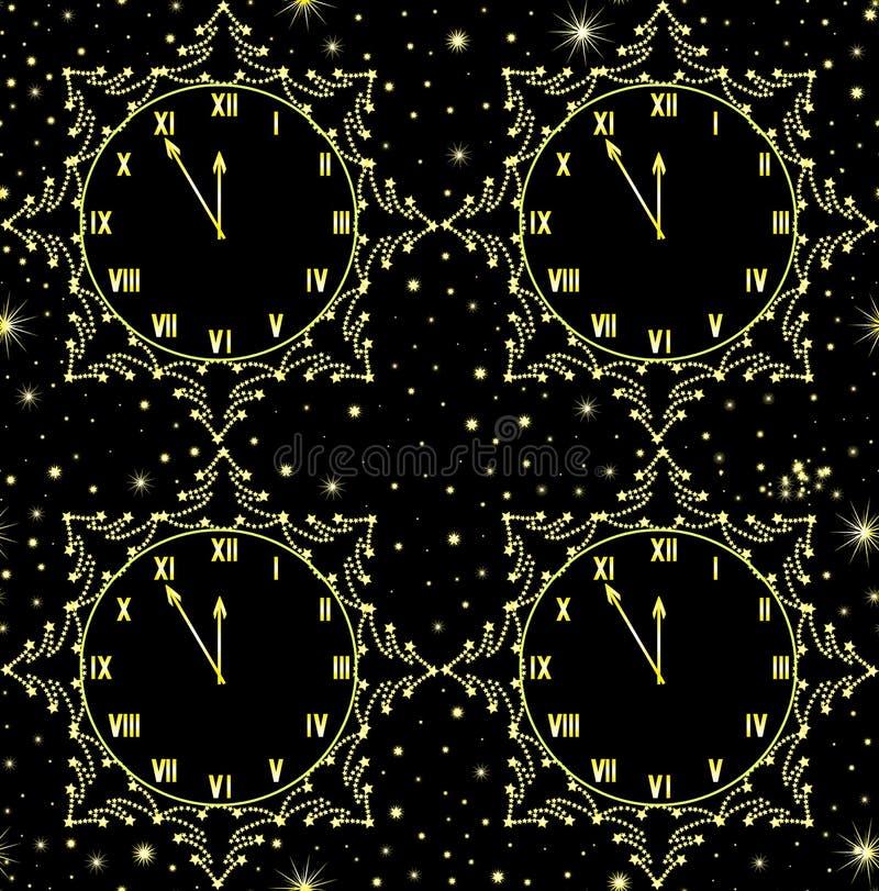 与显示五分钟的金黄时钟的新年快乐传染媒介无缝的样式对午夜 皇族释放例证