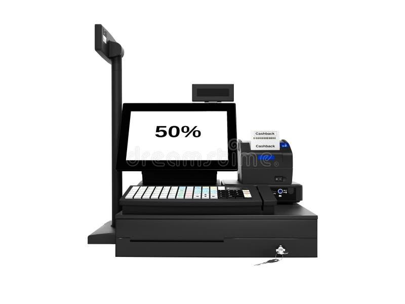 与显示器的灰色出纳员与cashback作用50%,当打印检查正面图3d回报在白色背景阴影时 向量例证