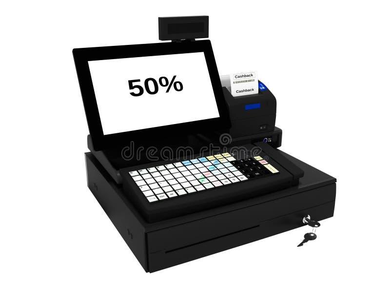 与显示器的灰色出纳员与cashback作用50%,当打印检查3d时在白色背景不回报阴影 向量例证