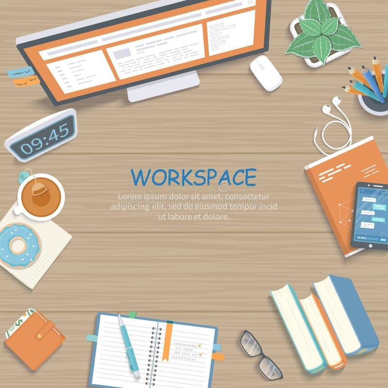 与显示器,书,笔记本,耳机,铅笔的木桌 工作场所背景顶视图 皇族释放例证