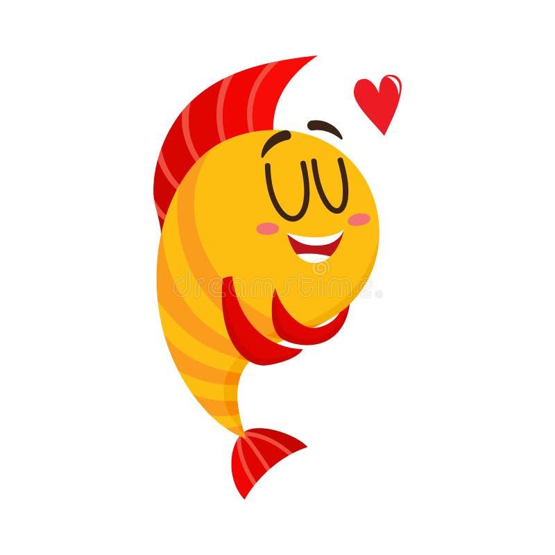 与显示爱的人面的逗人喜爱,滑稽的金黄,黄色鱼字符 向量例证