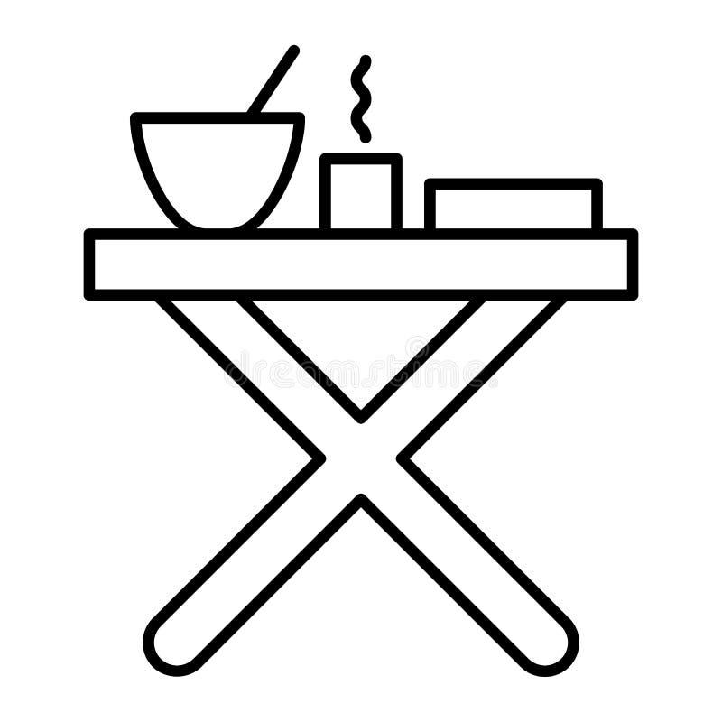 与晚餐稀薄的线象的折叠式小桌 在白色隔绝的野营的桌传染媒介例证 野餐桌概述 向量例证