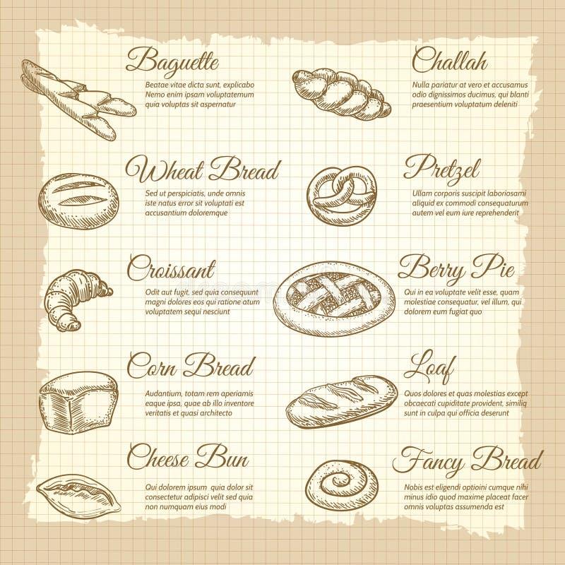 与普遍的面包店产品的葡萄酒海报 皇族释放例证