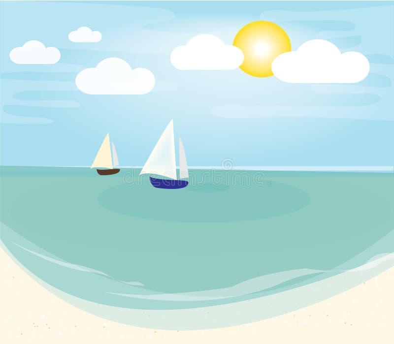 与晴朗的传染媒介的海滩 向量例证