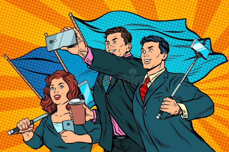 与智能手机和旗子,海报社会主义者现实主义的商人 皇族释放例证