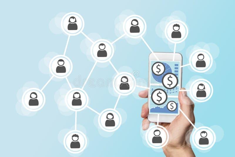 与智能手机和社会网络的流动e付款概念 免版税库存照片