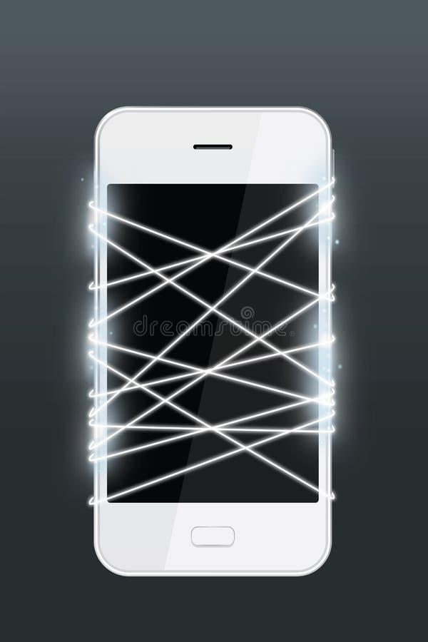 与智能手机的光纤散发的白光 库存图片