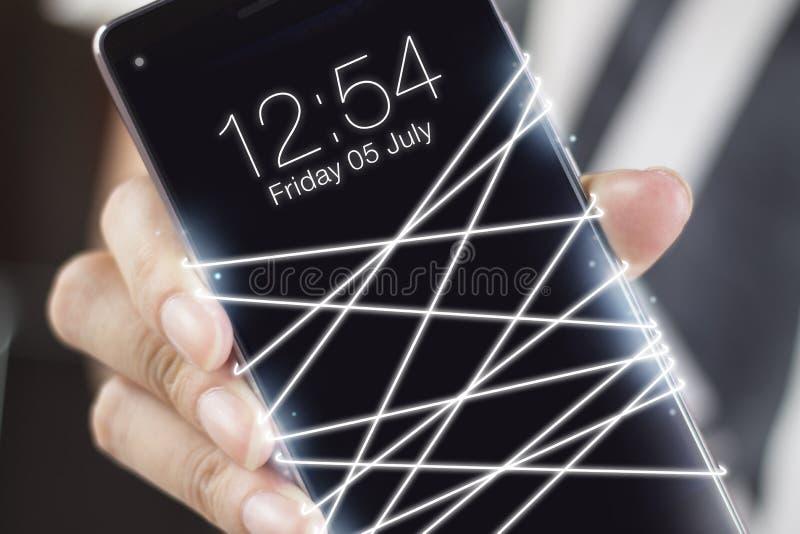 与智能手机的光纤散发的白光 图库摄影