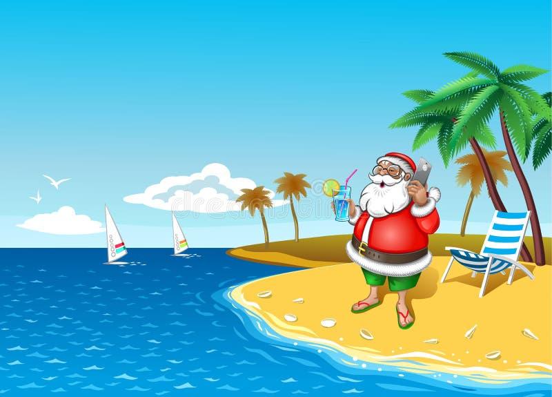 与智能手机的圣诞老人在与鸡尾酒的热带海岸在手中 库存例证