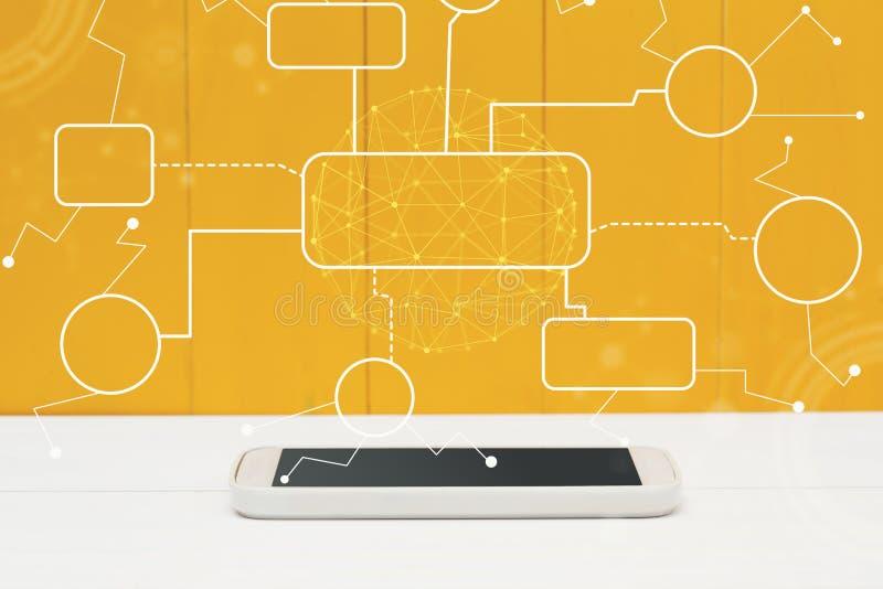 与智能手机的流程图 皇族释放例证