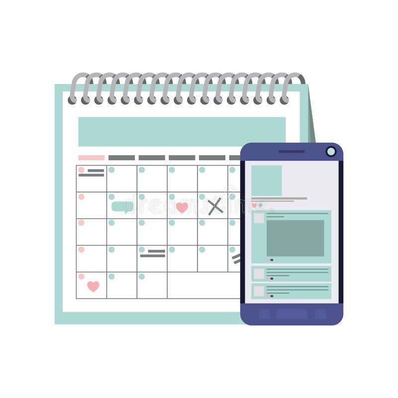 与智能手机被隔绝的象的日历提示 向量例证