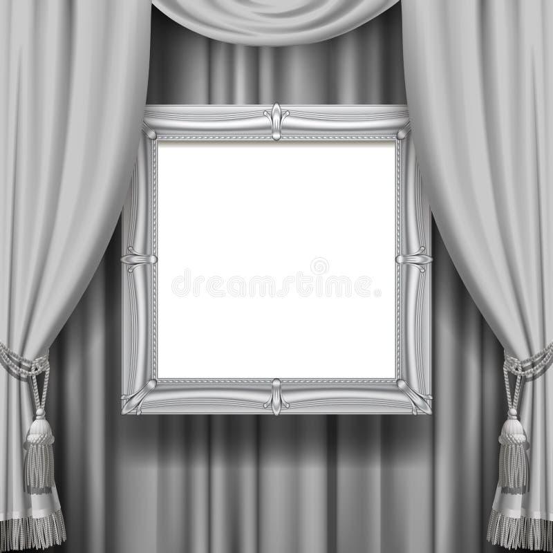 与暂停的银色类的灰色装饰帷幕背景 库存例证