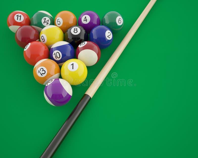 与暗示的撞球在一个选材台上 向量例证