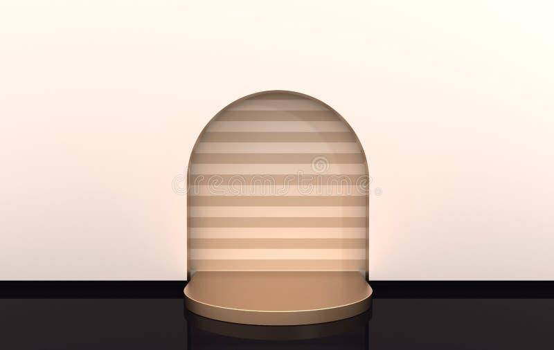 与曲拱和指挥台的墙壁场面在淡色 3D翻译内部 产品介绍的平台,嘲笑背景 皇族释放例证