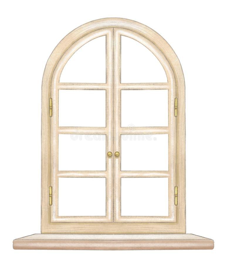 与曲拱木窗口的铅笔和水彩图画与古铜色配件和基石 皇族释放例证