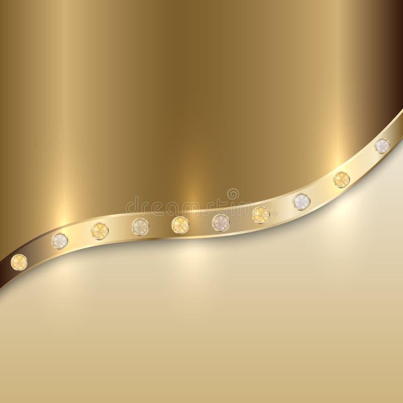 与曲线的传染媒介金黄纹理背景和 皇族释放例证