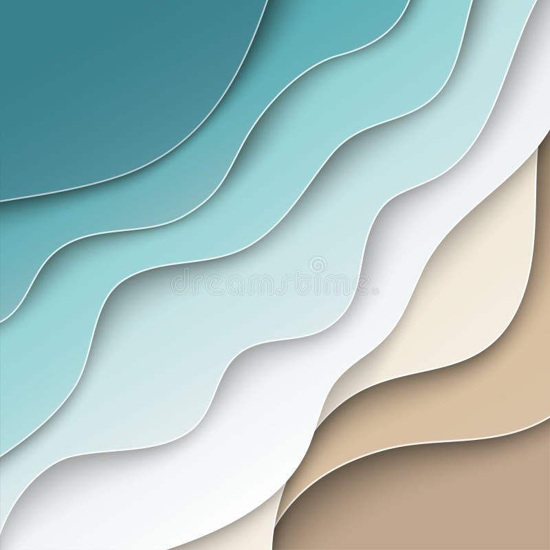 与曲线纸波浪的抽象蓝色海和海滩夏天背景,海岸,播种了与横幅的,飞行物剪报面具 皇族释放例证