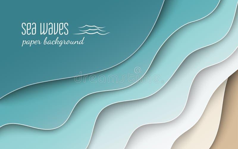 与曲线纸的抽象蓝色海和海滩夏天背景挥动和海岸,播种与横幅的剪报面具,海报 皇族释放例证