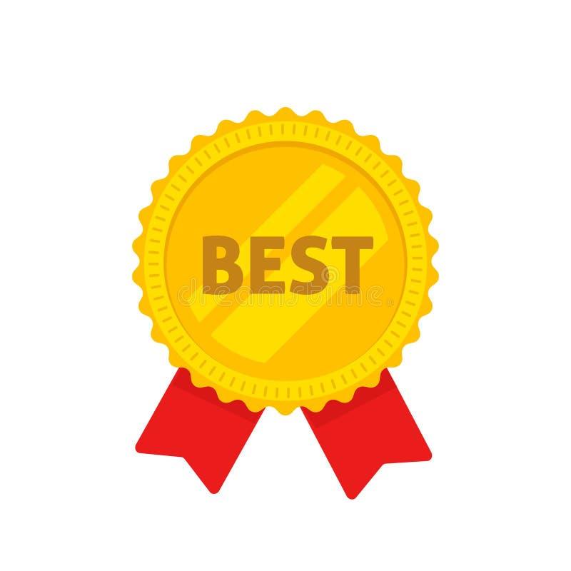 与最佳的文本传染媒介例证,金大奖章平的动画片设计的金黄奖牌在玫瑰华饰形状标签,奖的 库存例证