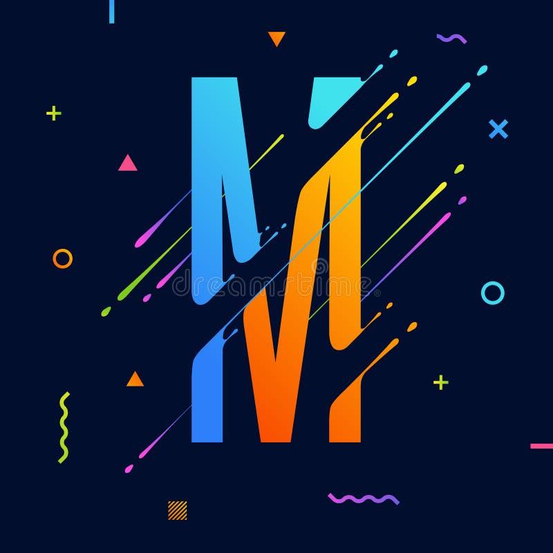 与最小的设计的现代抽象五颜六色的字母表 信函m 与凉快的明亮的几何元素的抽象背景 皇族释放例证