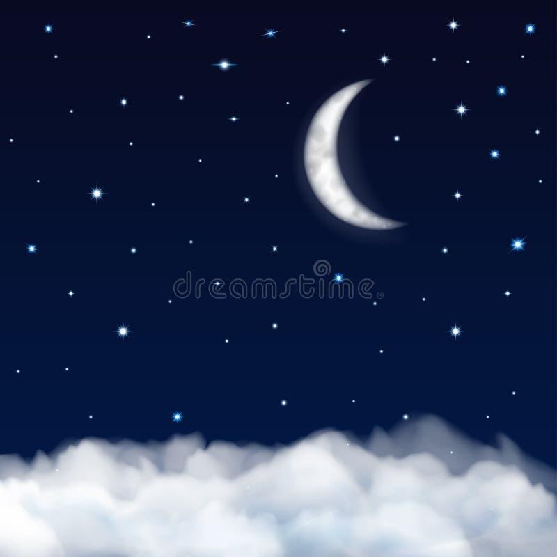 与月亮、星和云彩的夜空 向量例证