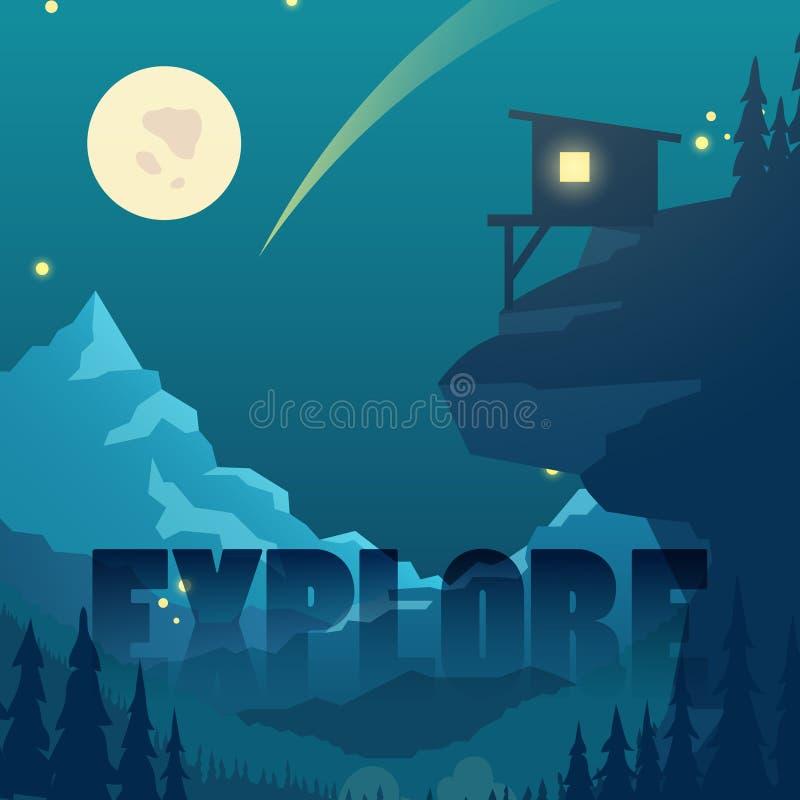 与月亮、星和山家剪影的夜平的传染媒介山风景 库存例证