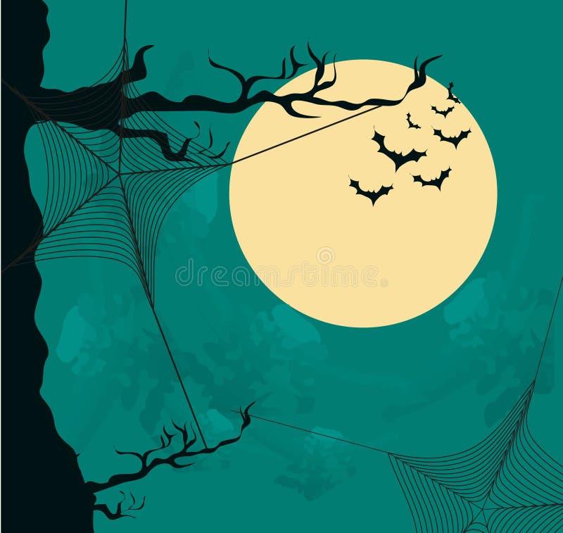 与月亮和蜘蛛网的万圣夜背景 皇族释放例证