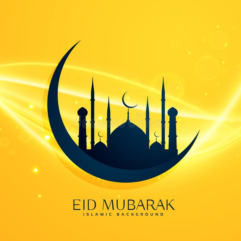 与月亮和mosqu的回教宗教eid节日问候设计 库存例证