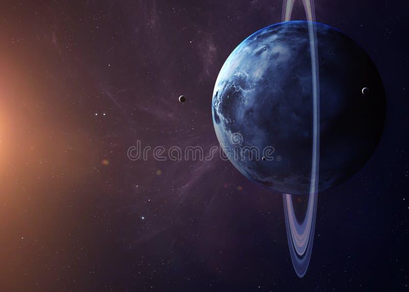 与月亮的天王星从显示所有他们的空间 免版税库存照片