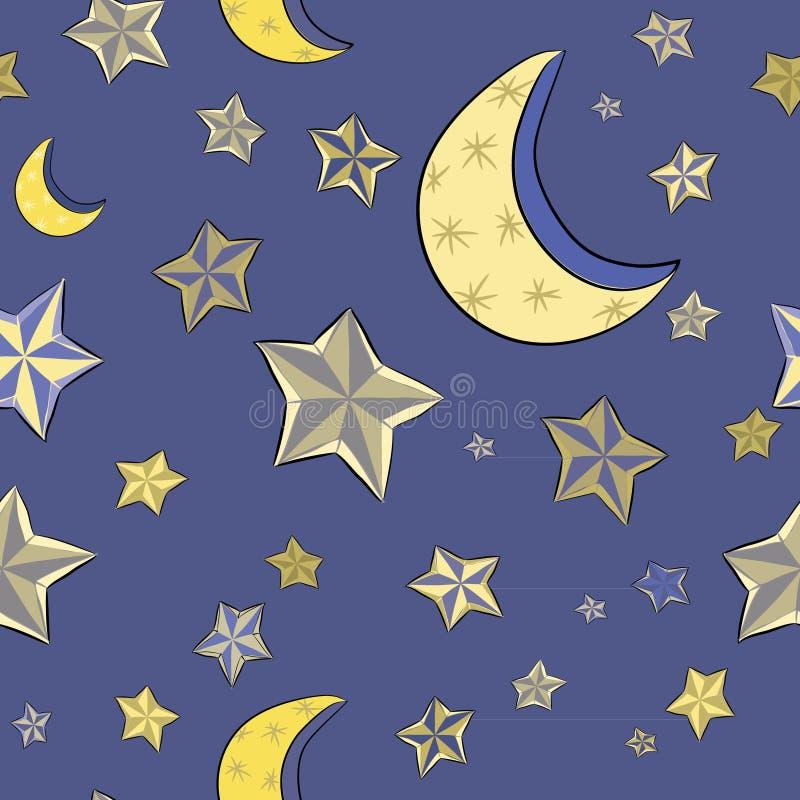 与月亮的手拉的金黄星在蓝色背景 无缝的模式 晚上天空的传染媒介例证 库存例证